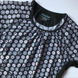 Cherokee Scrub Top Daisy Print  Uniform Size Small